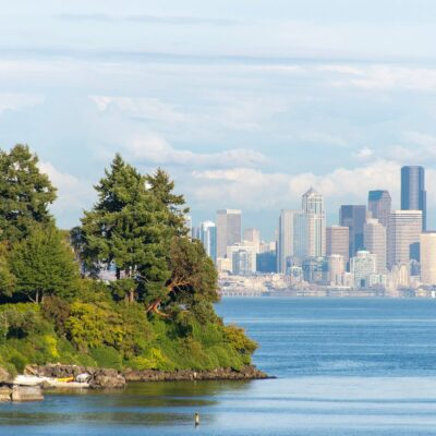 Seattle's skyline and Bainbridge Island.