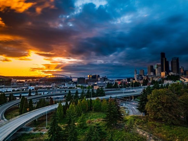 Seattle Washington Skyline at Sunset