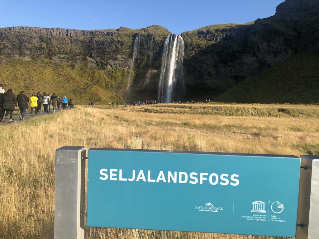 Seljalandsfoss, a waterfall in Iceland.