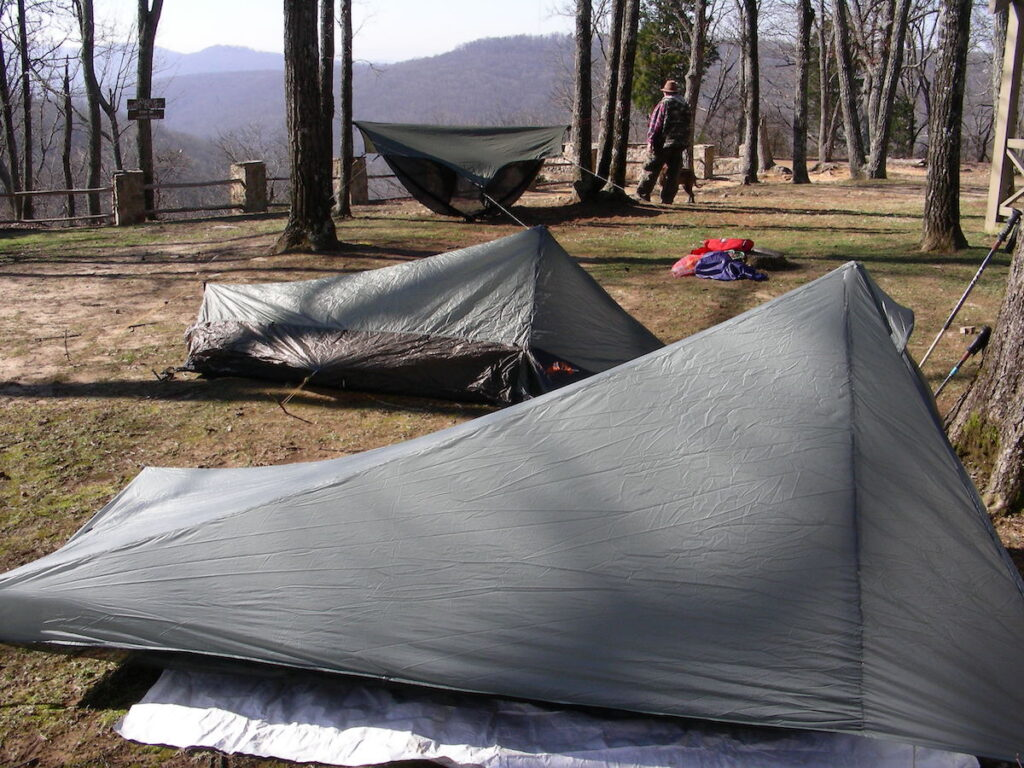 Setting up a tent near Huntsville, Alabama.
