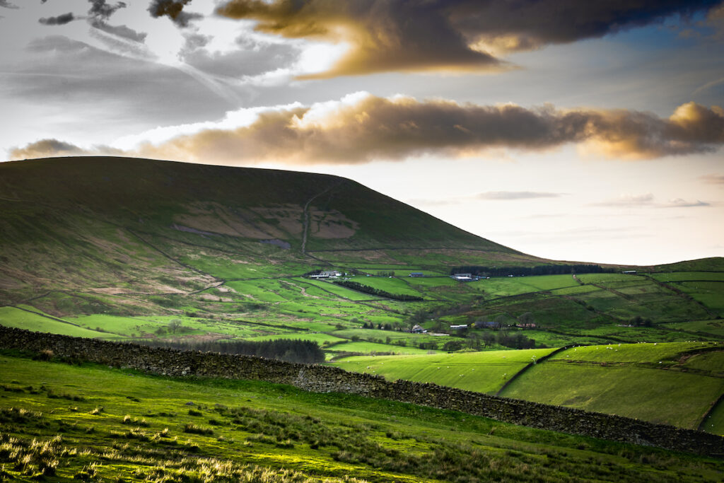 Shadows over Pendle Hill in England.