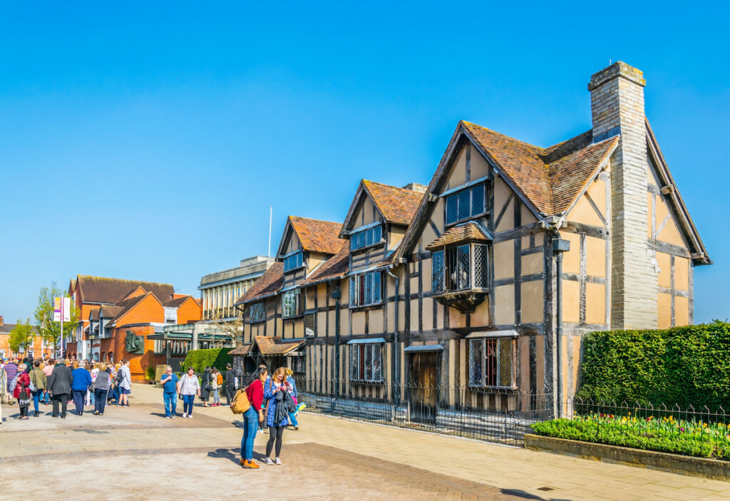 Shakespeare's birthplace in Stratford-Upon-Avon, UK, during April.