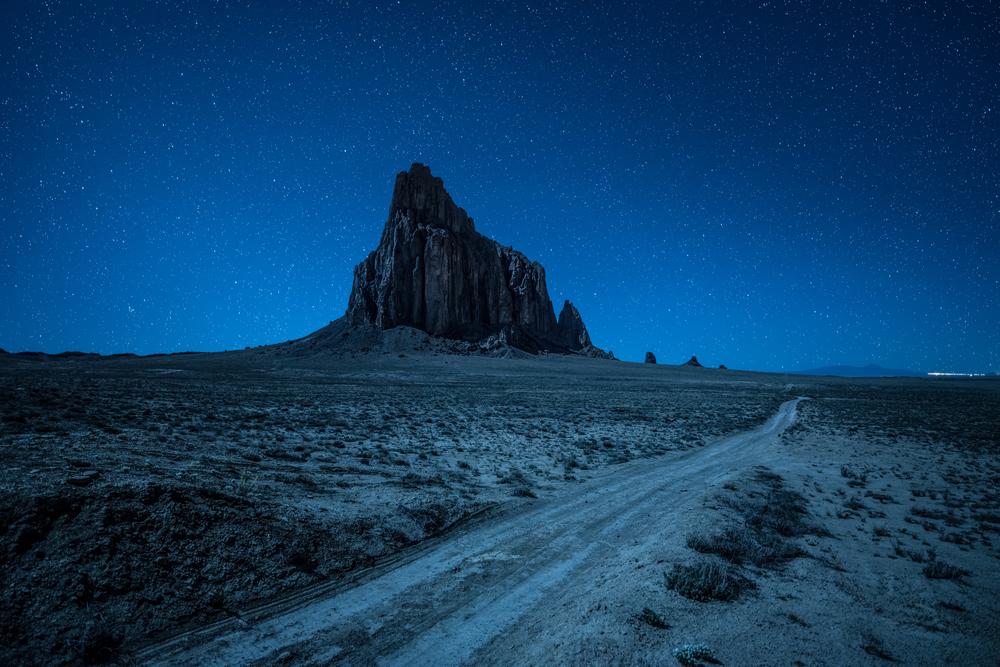 Shiprock, a diatreme on the Navajo Nation, at night.