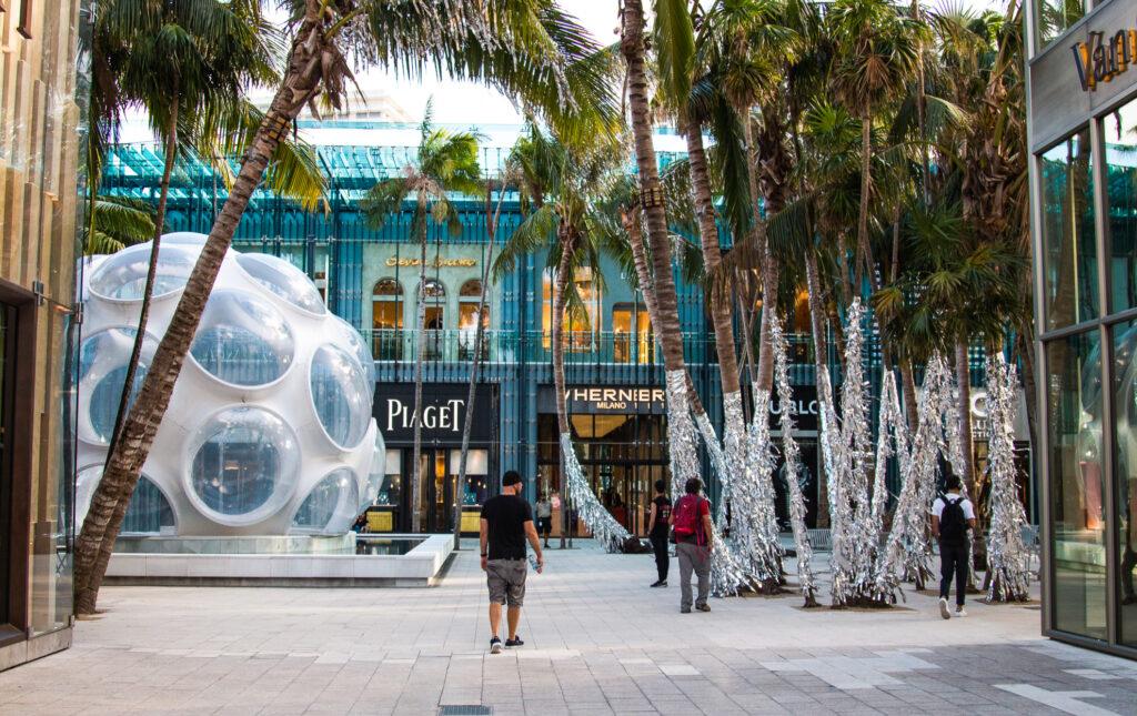 Shoppers in the Miami Design District.