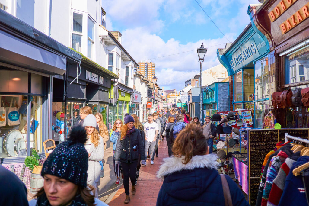 Shoppers walking the streets of Brighton and Hove