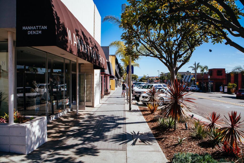 Shops along downtown Manhattan Beach, California.