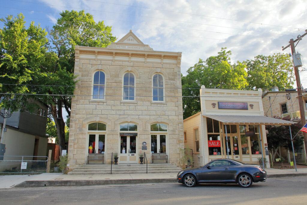 Shops along High Street in Comfort, Texas.