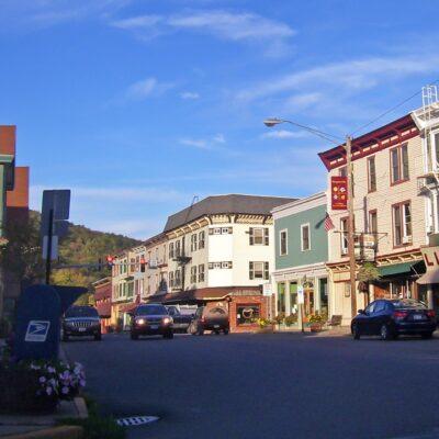 Shops along main street in downtown Margaretville, New York.