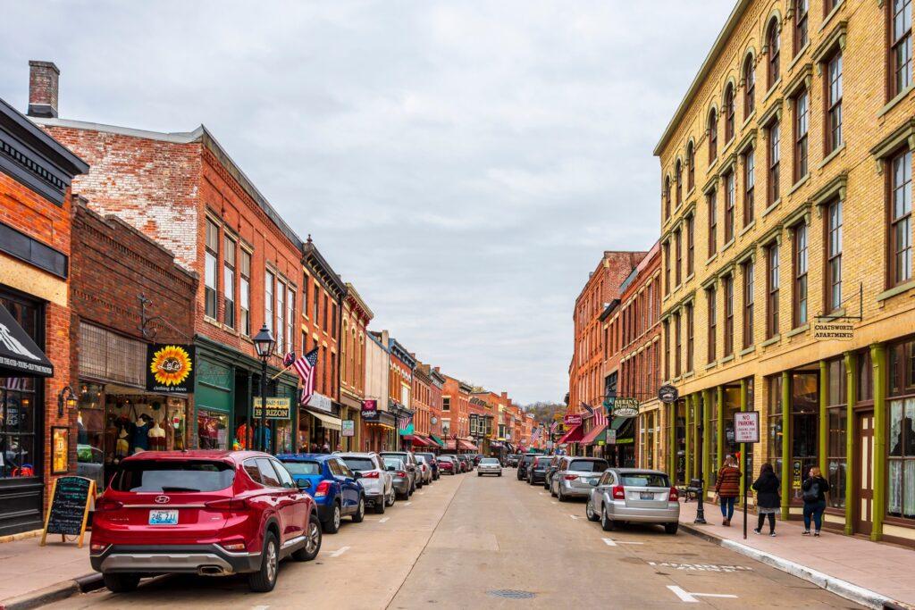 Shops along Main Street in Galena, Illinois.