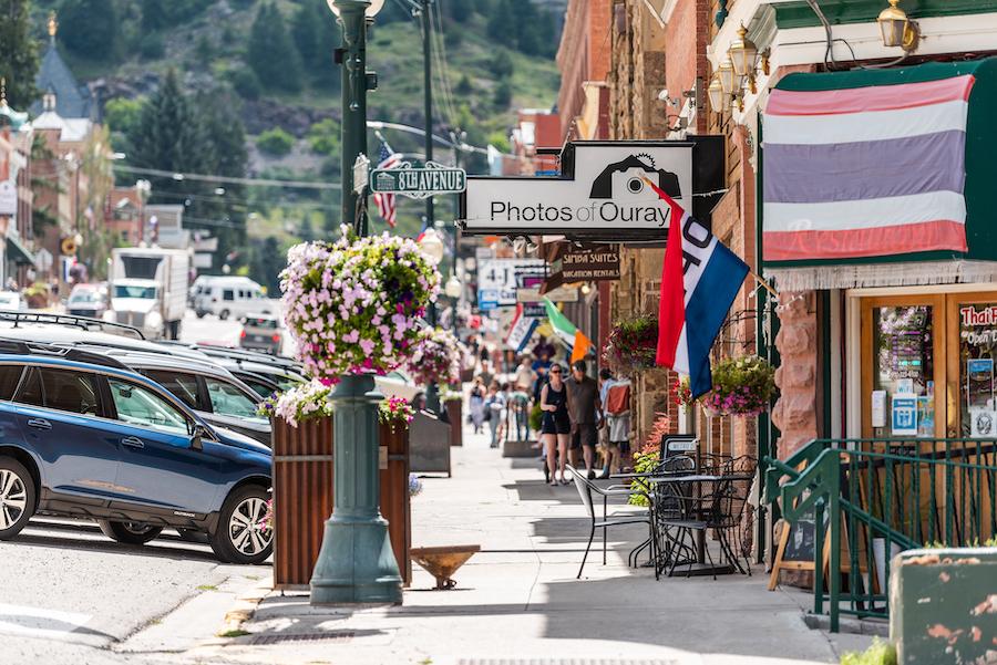 Shops along main street in Ouray, Colorado.