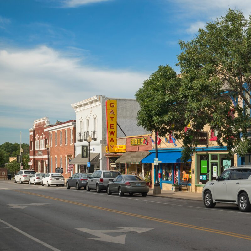 Shops along main street in quaint Independence, Missouri.