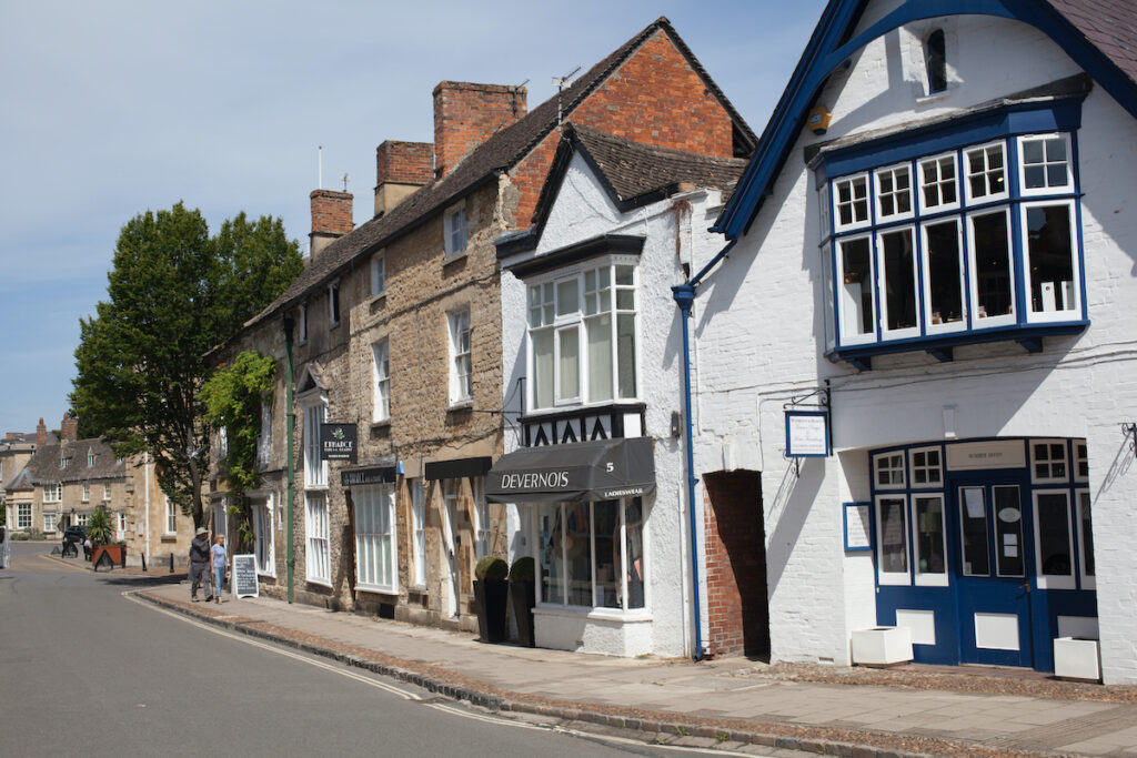 Shops along the High Street in Woodstock, Oxfordshire.