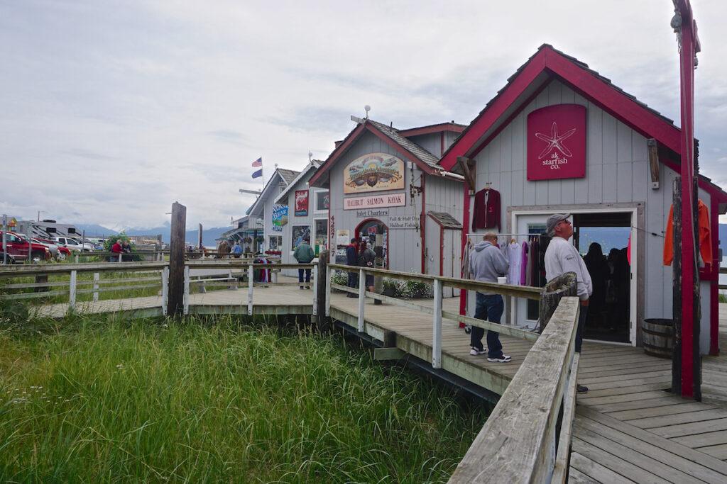 Shops along the Homer Spit in Alaska.