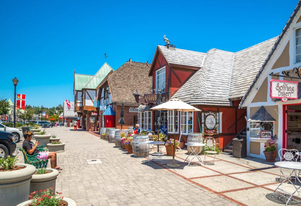 Shops along the main street of Solvang, California.