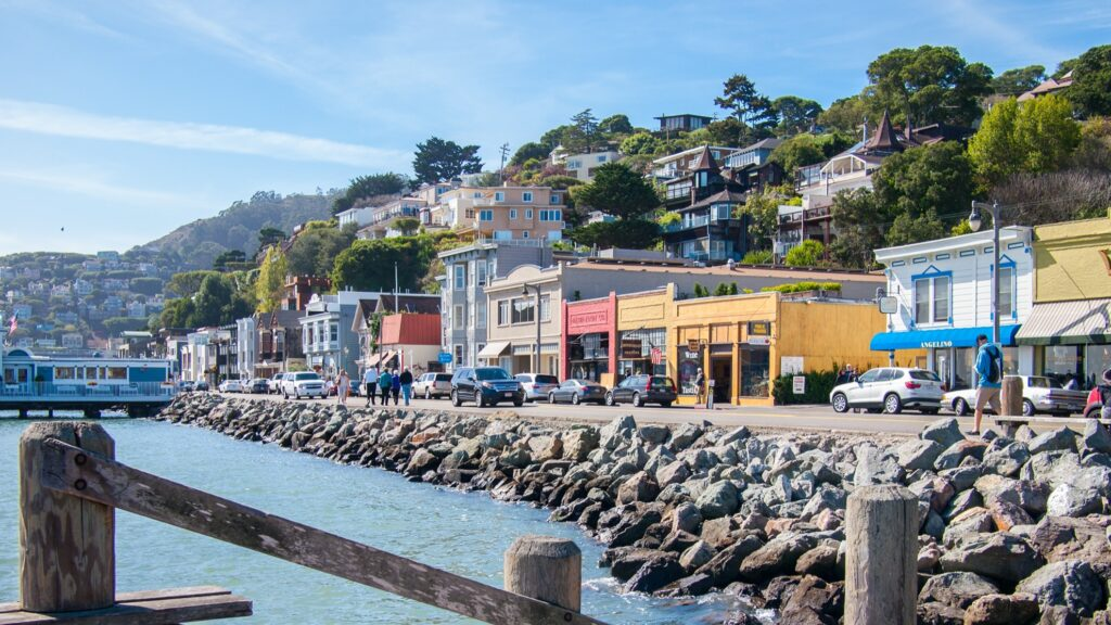 Shops along the waterfront in Sausalito.
