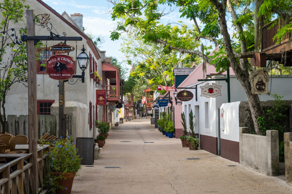 Shops and restauraints in St. Augustine's Colonial Quarter.