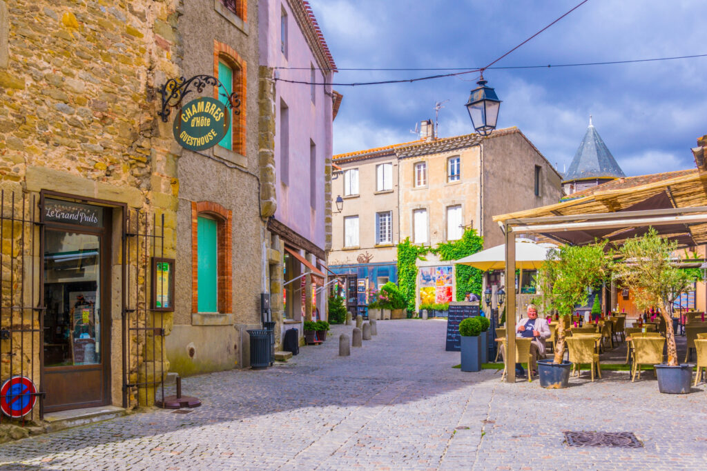 Shops and restaurants in Carcassonne's Lower Town.
