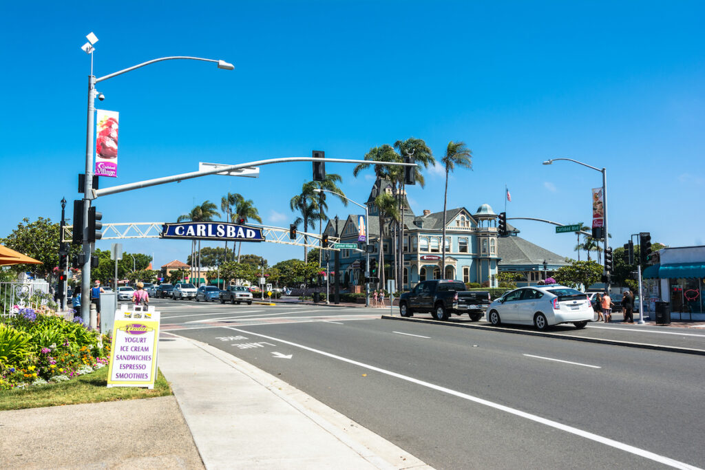 Shops and restaurants in Carlsbad Village.