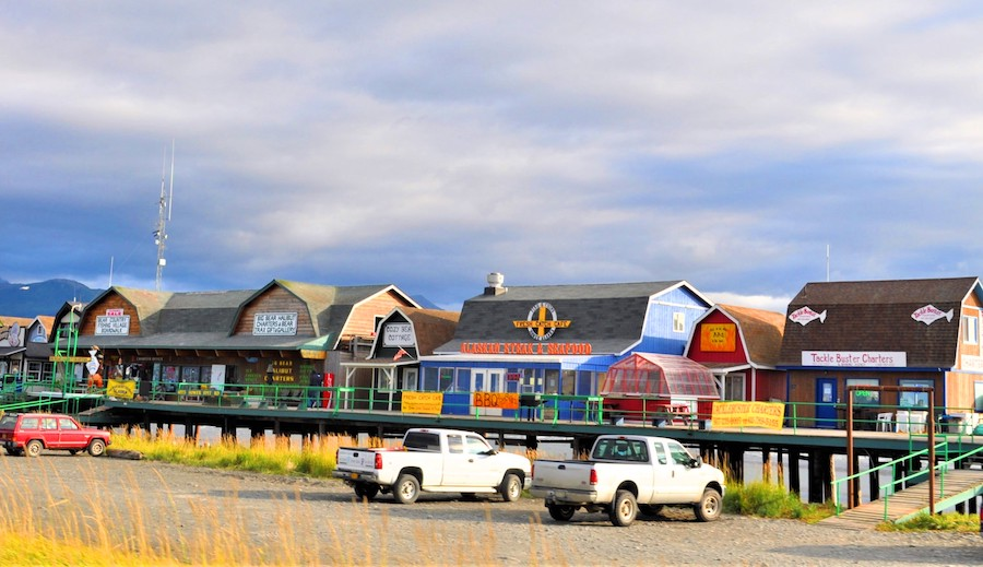 Shops and restaurants in Homer, Alaska.