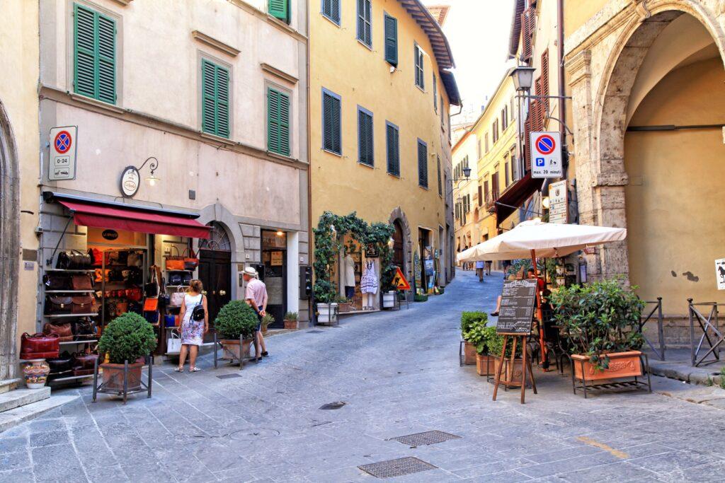 Shops and restaurants in Montepulciano.