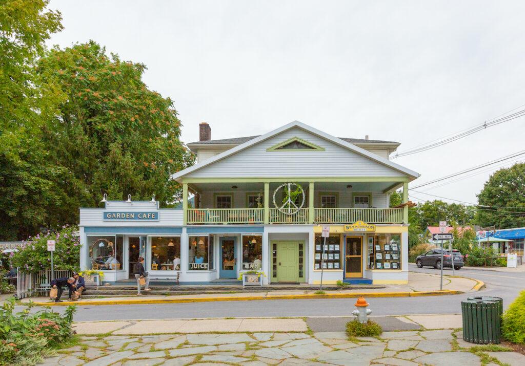 Shops and restaurants in quaint Woodstock, New York.
