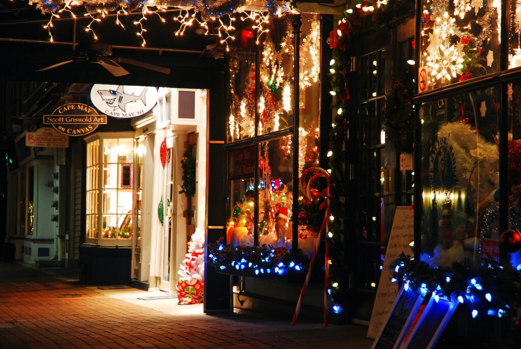 Shops decorated for Christmas in Cape May, New Jersey.
