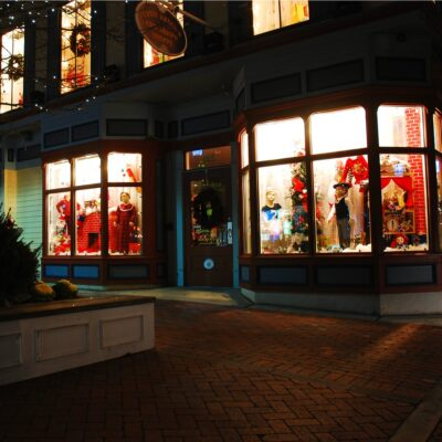 Shops decorated for Christmas in downtown Cape May, New Jersey.