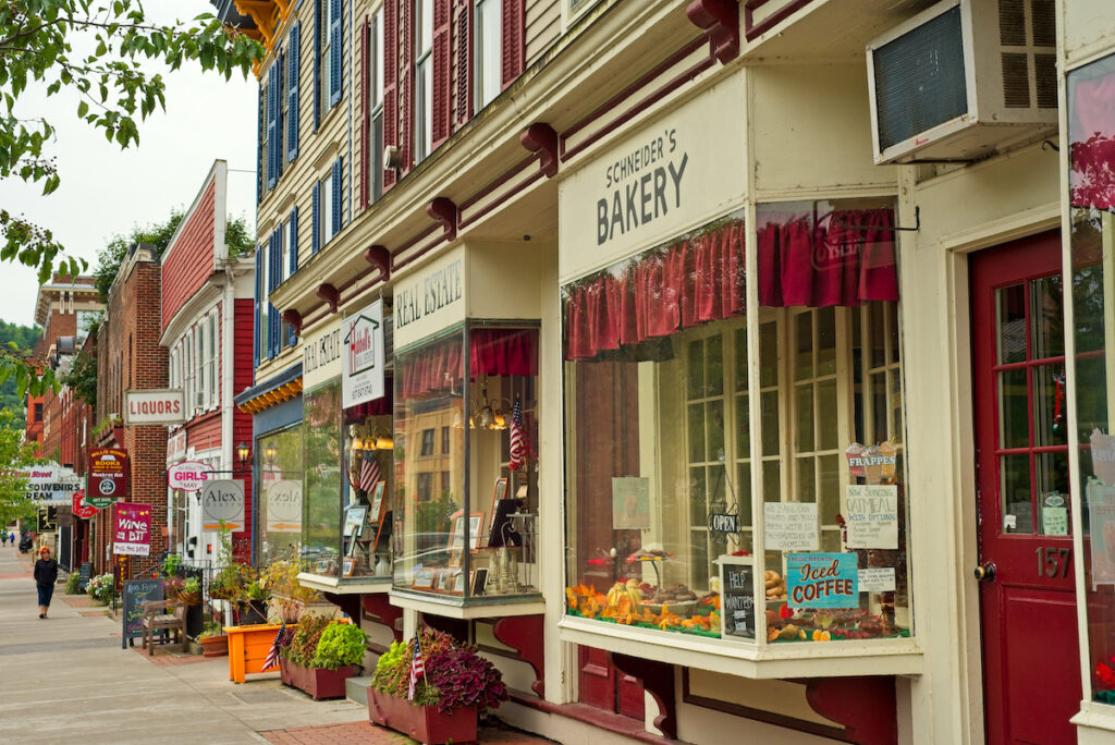 Shops in Cooperstown, New York.
