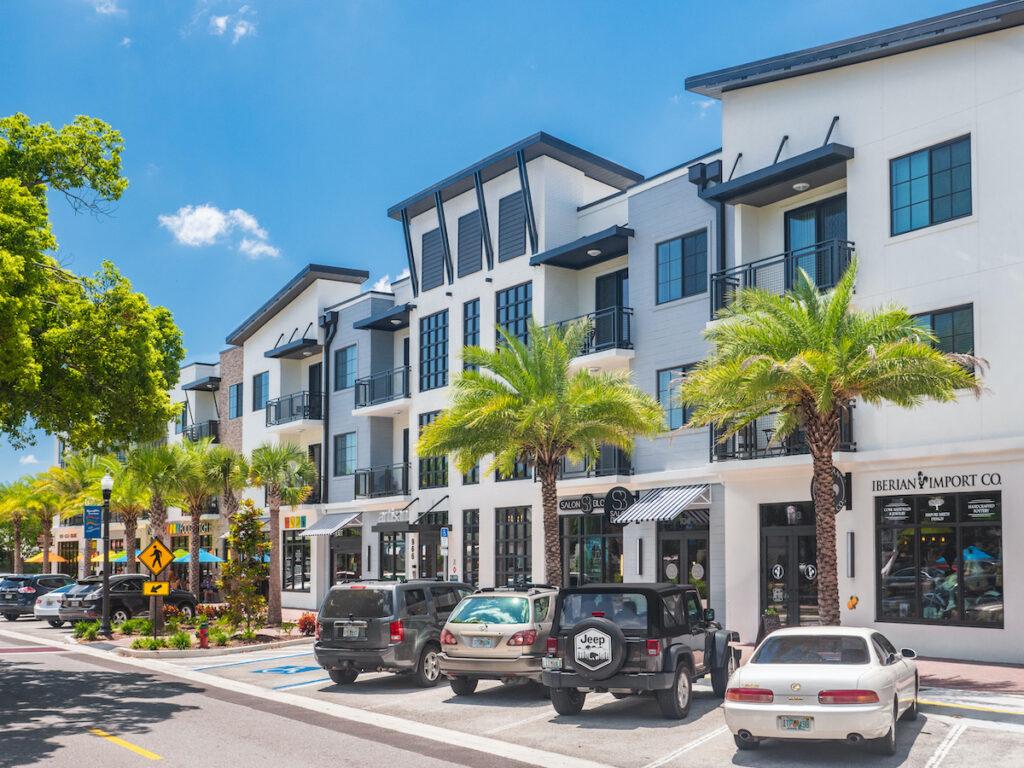 Shops in downtown Dunedin, Florida.