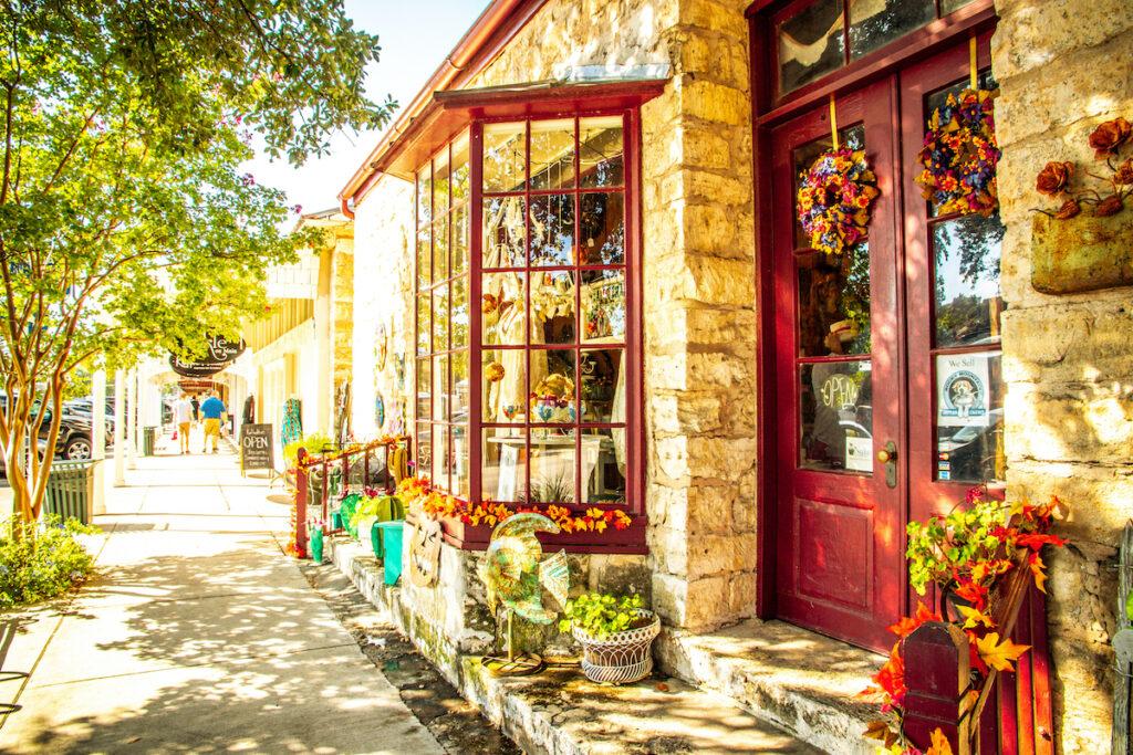 Shops in downtown Fredericksburg, Texas.