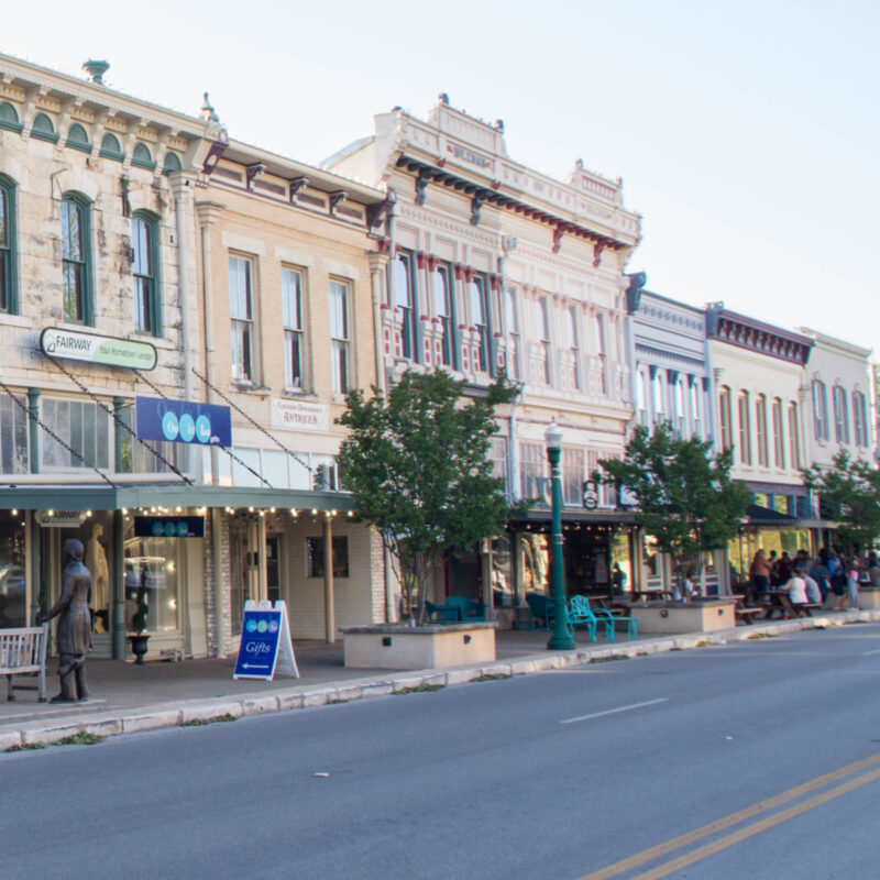Shops in downtown Georgetown, Texas.