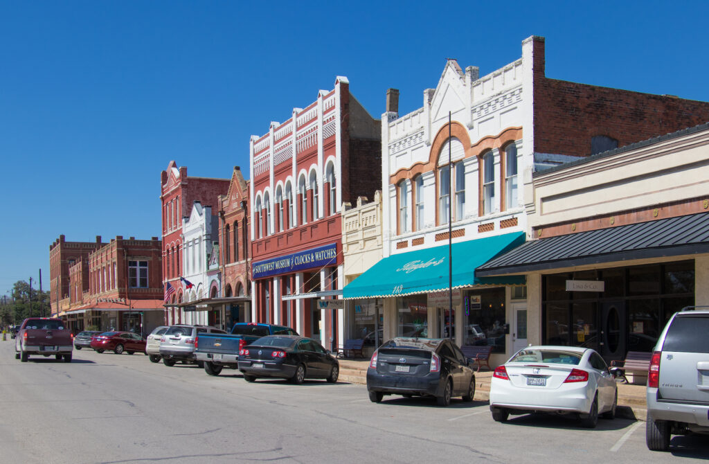 Shops in downtown Lockhart, Texas.