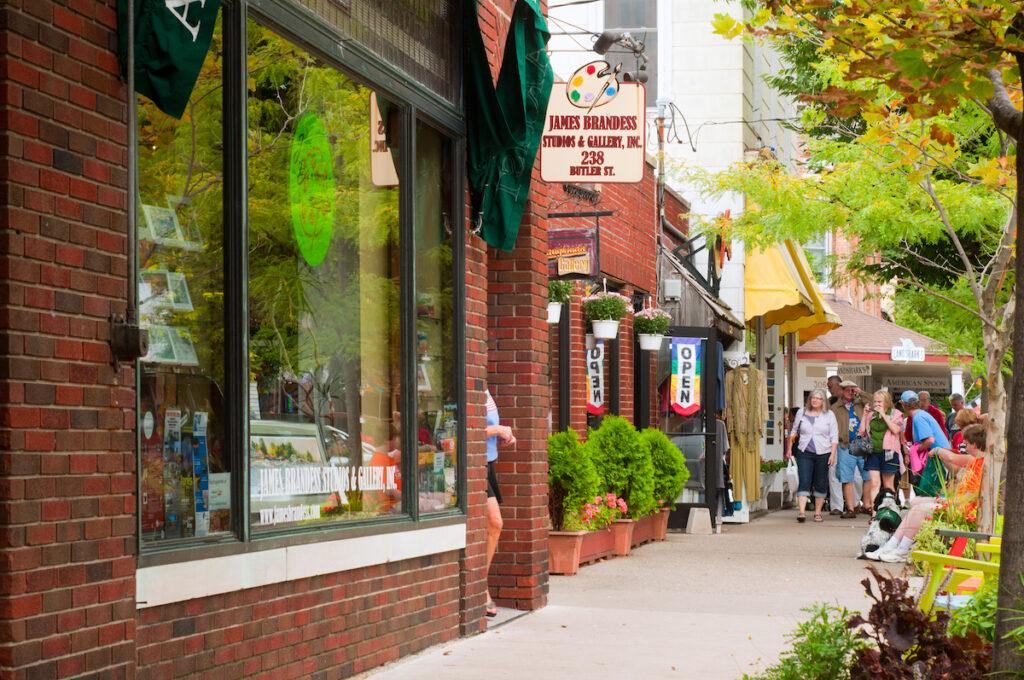 Shops in downtown Saugatuck, Michigan.
