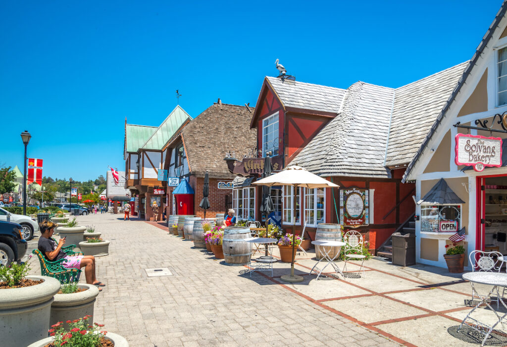 Shops in downtown Solvang, California.