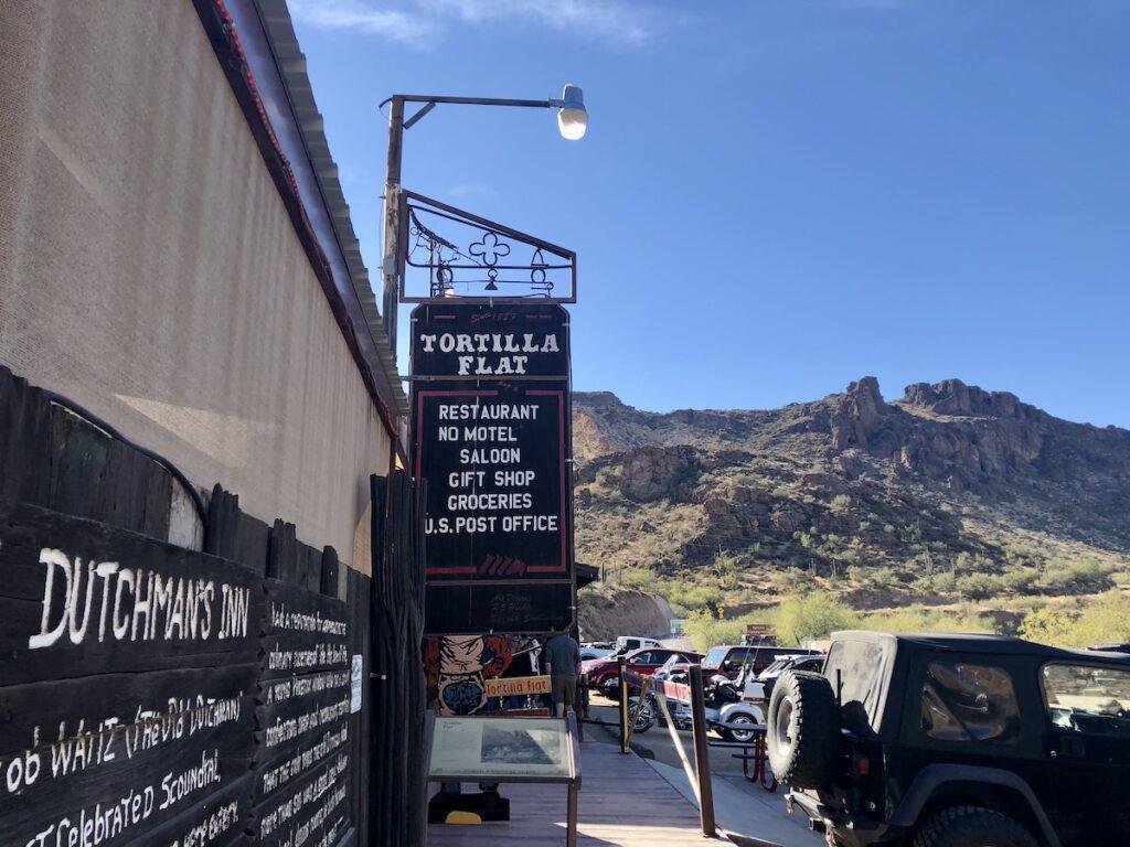 Shops in downtown Tortilla Flat in Arizona.