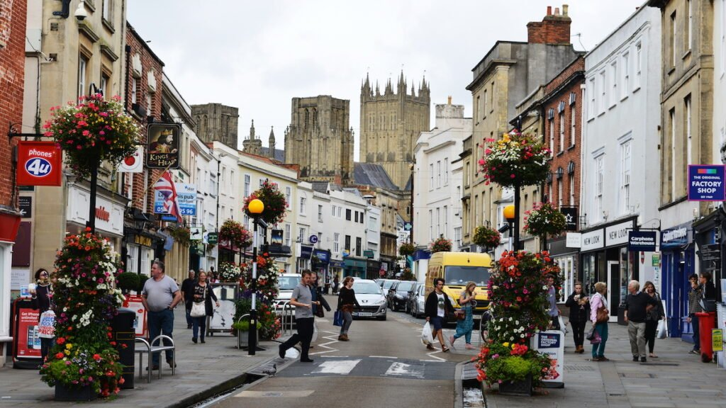 Shops in downtown Wells, England.