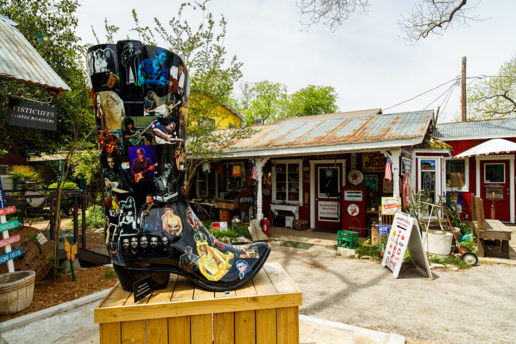 Shops in downtown Wimberley, Texas.