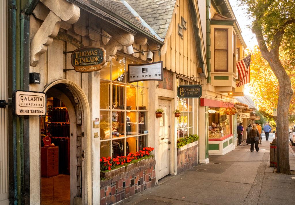 Shops in quaint Carmel-By-The-Sea, California.