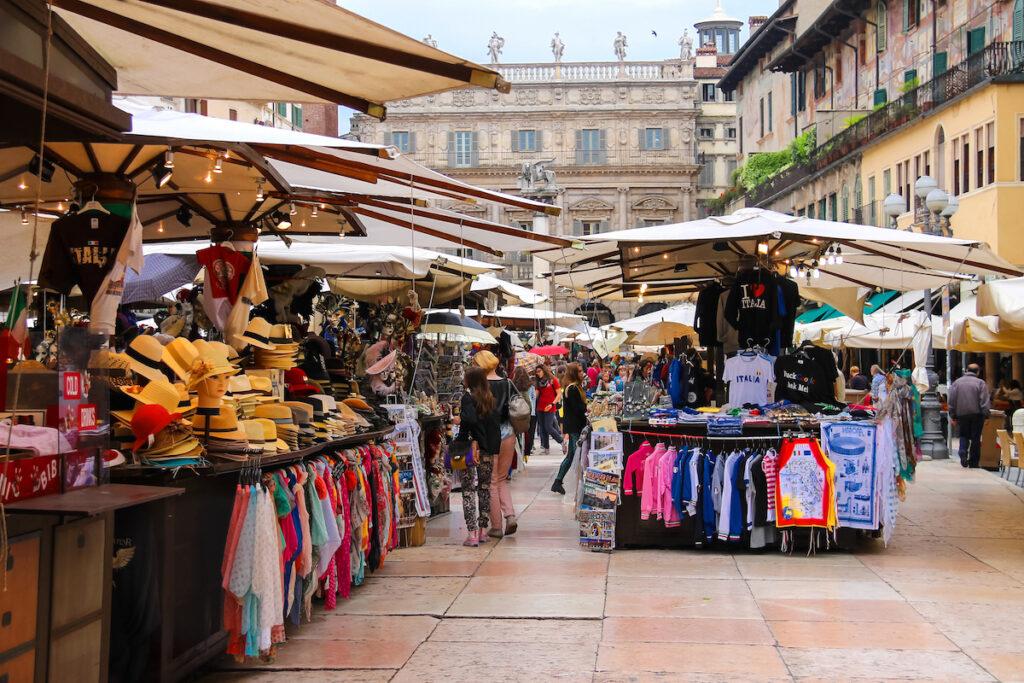 Shops in the Piazza delle Erbe in Verona, Italy.