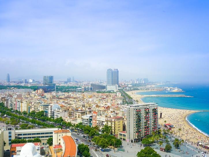 Shoreline of Barcelona, Spain.