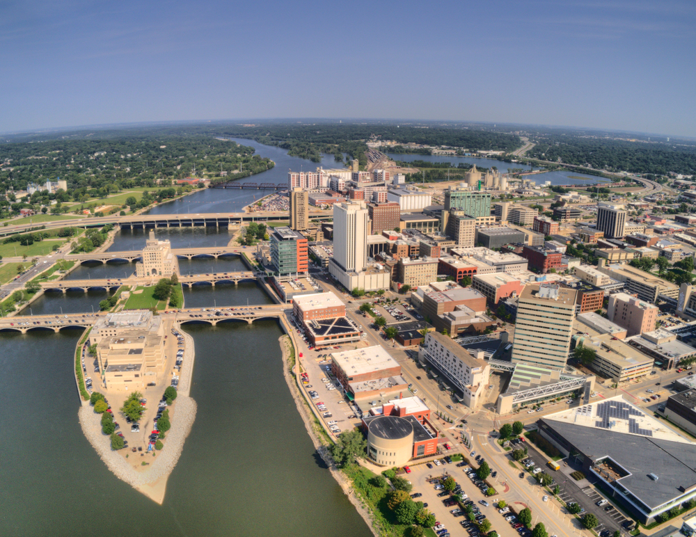 Aerial View of Cedar Rapids, Iowa during Summer
