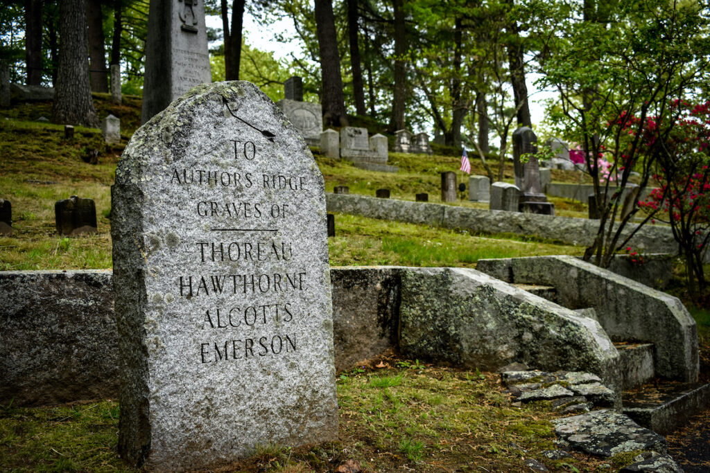 A tombstone in Sleepy Hollow Cemetery.
