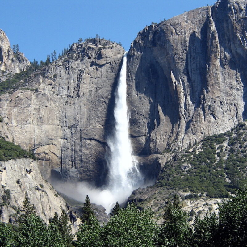 The waterfall at Yosemite.