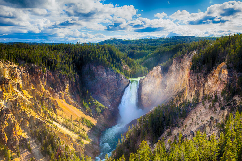 Massive waterfall in Yellowstone.