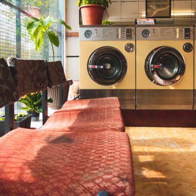 Seats at a laundromat.