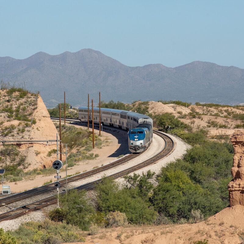 An Amtrak train in Arizona.