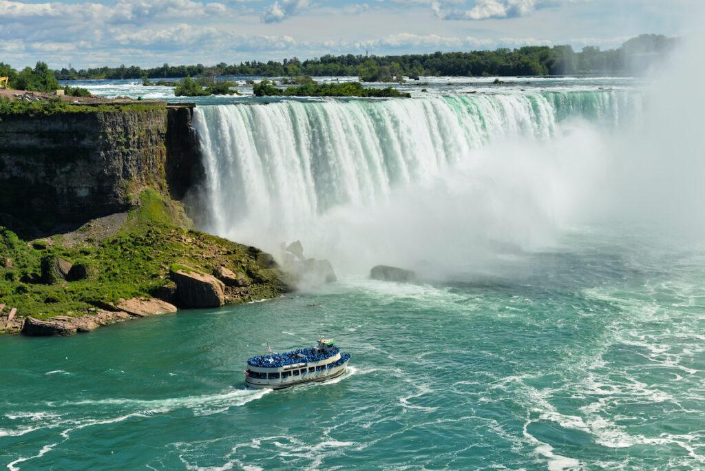 A tour boat near Niagara Falls.