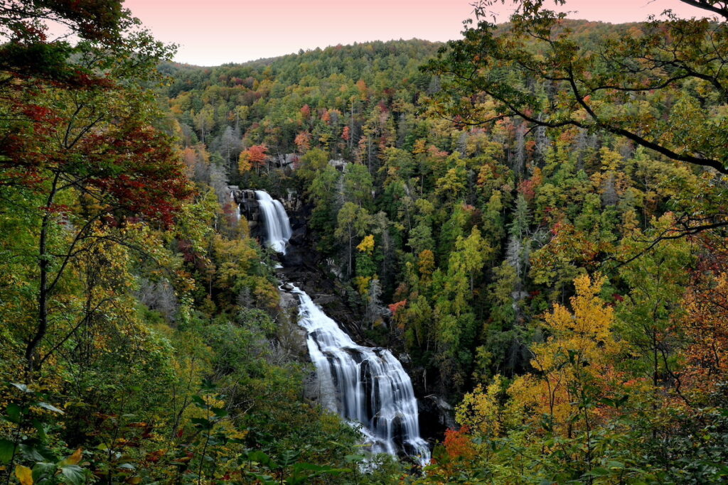 Whitewater Falls in autumn.
