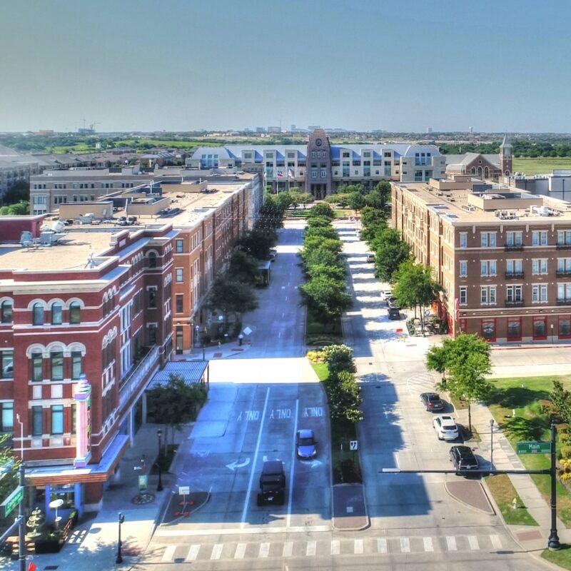 An aerial view of Frisco, TX.