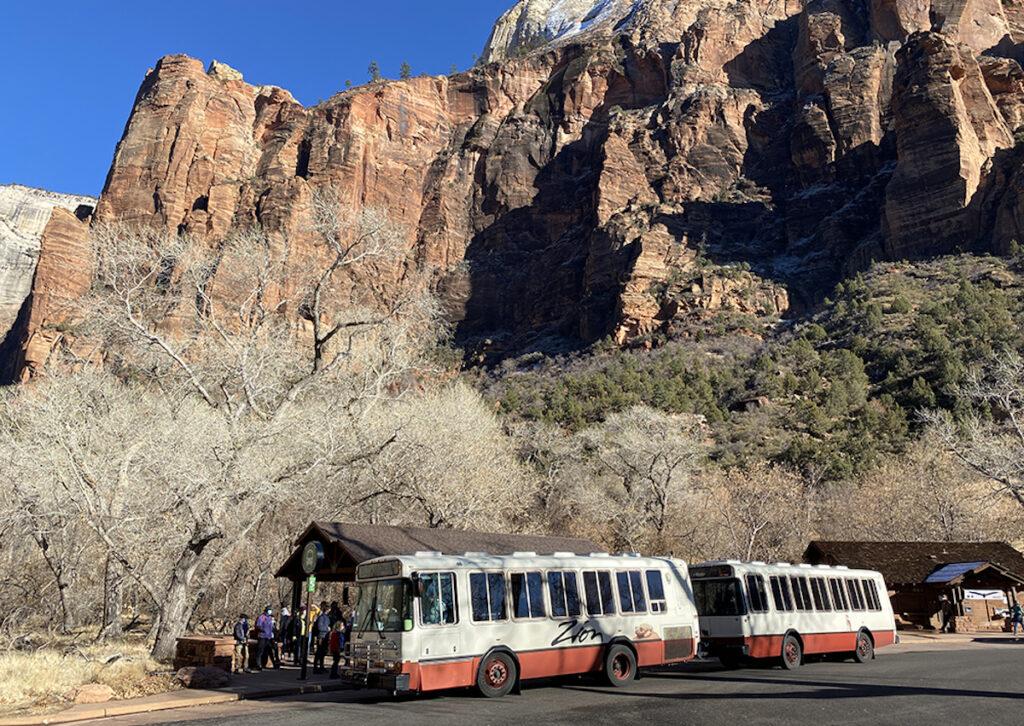 Shuttles at Utah's Zion National Park.